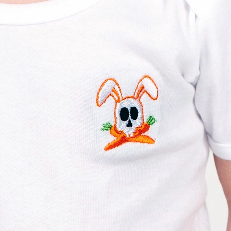 Tshirt en coton bio papate detail du lapin tete de mort