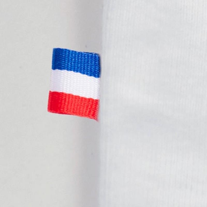 detail du drapeau francais du body en coton bio de papate