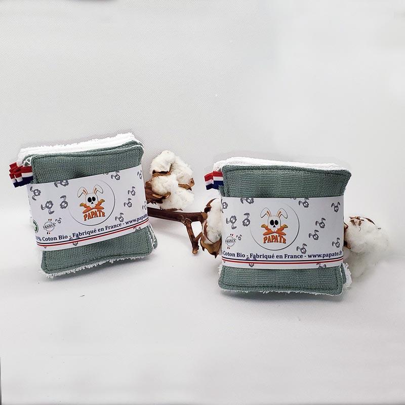 lingettes lavables reutilisables papate coton bio