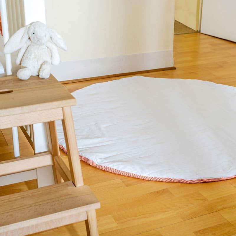 tapis eveil motricite jouets bebe vichy blanc papate