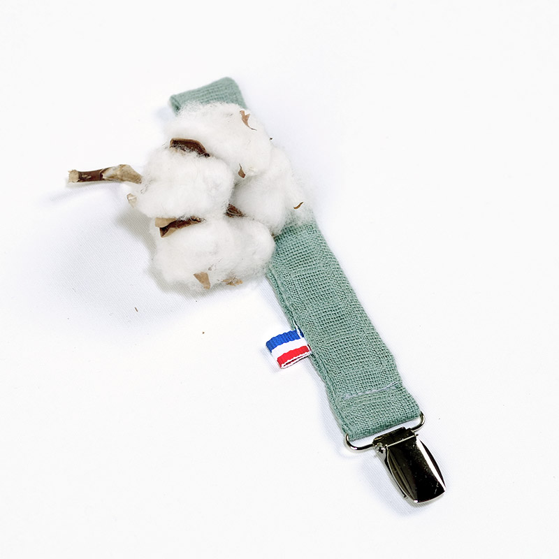 attache sucette vert celadon coton biologique bebe papate