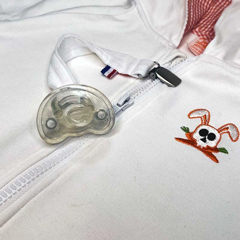 attache tetine teddy blanc drapeau france bio papate