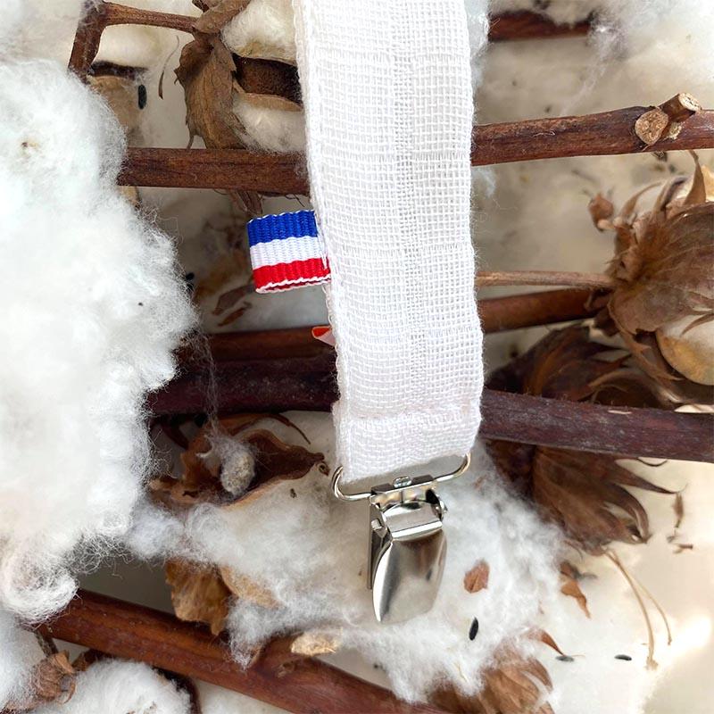 attache tetine teddy coton biologique blanc papate