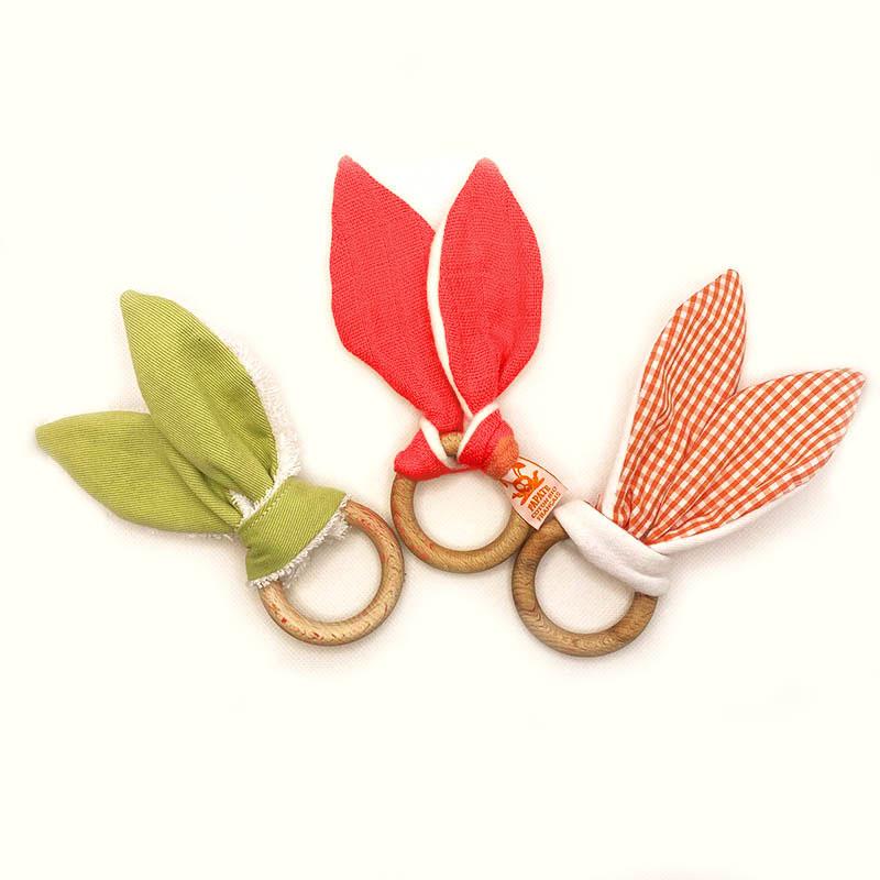 collection anneaux dentition vert orange vichy bio papate