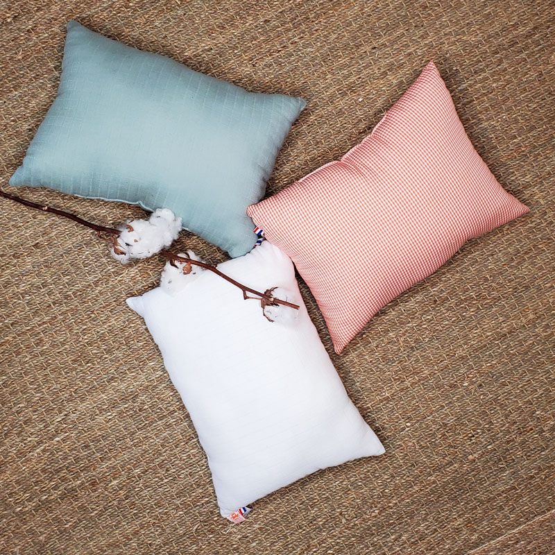 coussin vichy coussin blanc coussin vert coton bio papate
