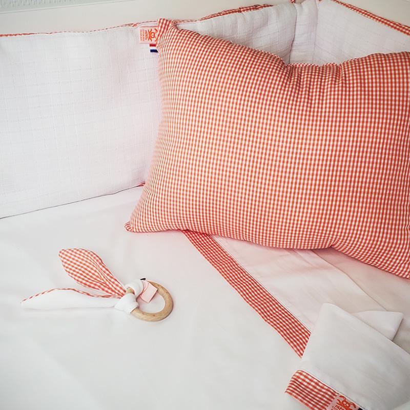 80x110 drap plat bebe en coton bio papate blanc