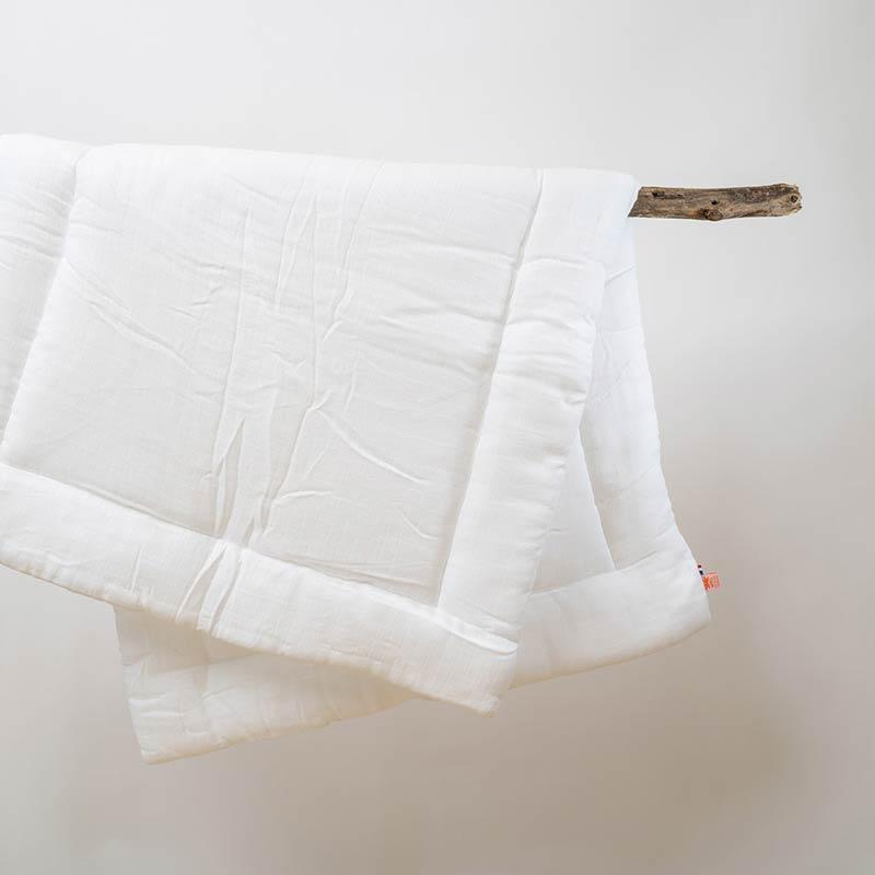 edredon lit bebe coton bio blanc papate 65x120