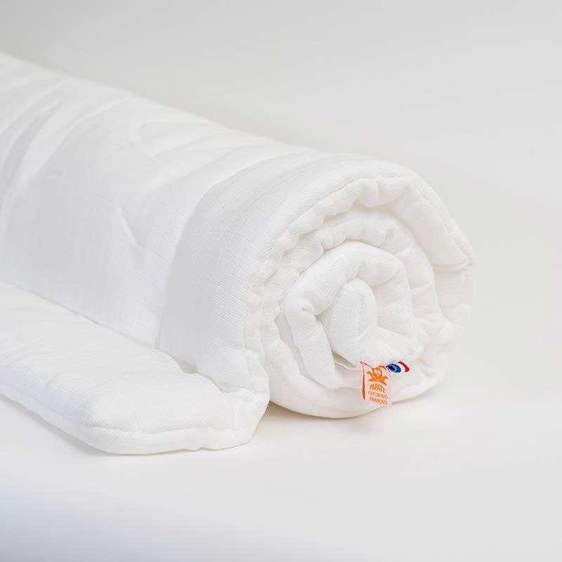 edredon et coussins lit bebe coton bio blanc papate enfant
