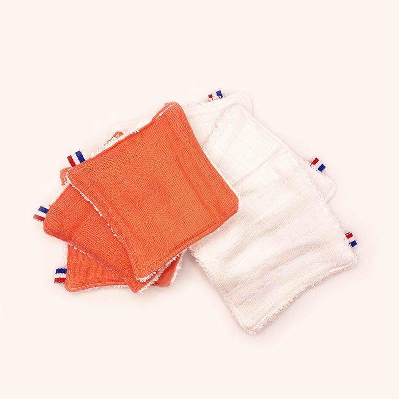 lingettes lavables electric summer orange blanc bio papate