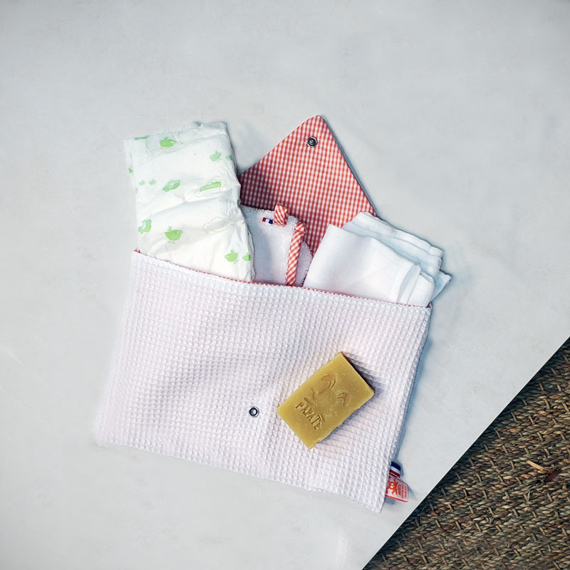 pochette blanc rangement bio papate bebe