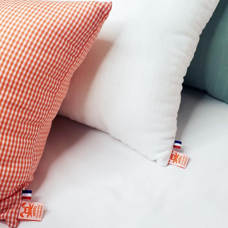 Coussin en coton bio bebe papate france orange blanc