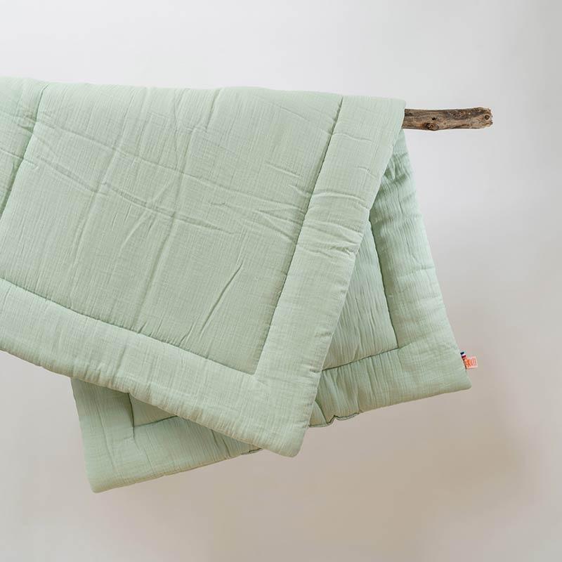 edredon et coussin vert et blanc lit enfant 18 mois coton bio france papate