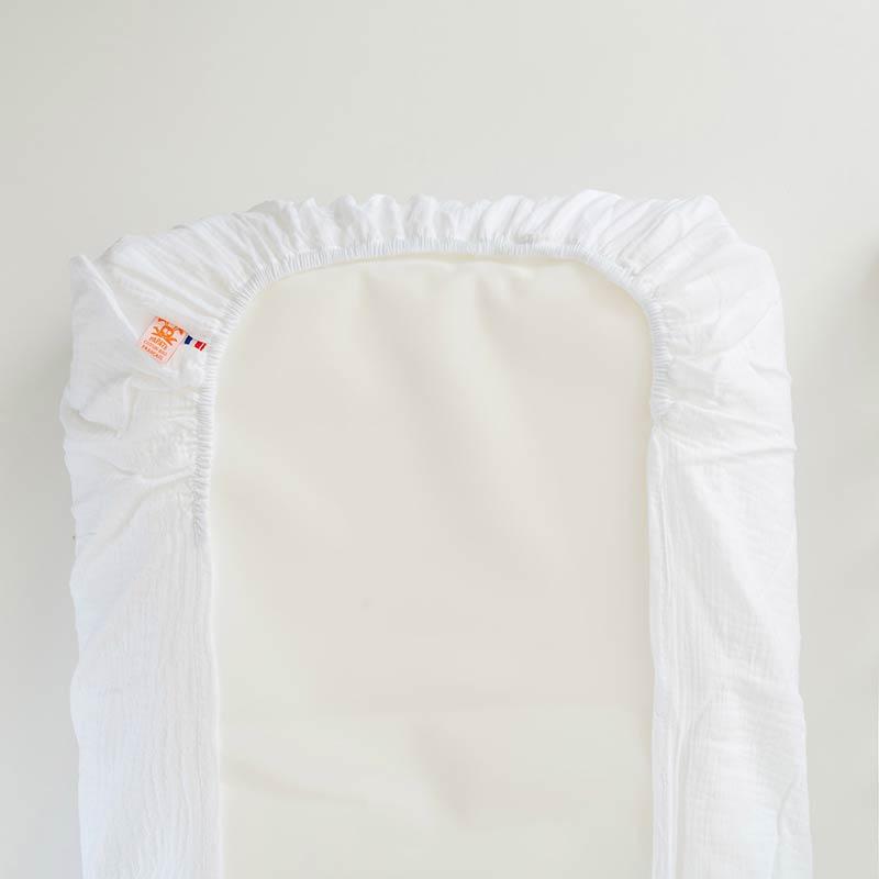 housse matelas a langer coton bio papate blanc gaze