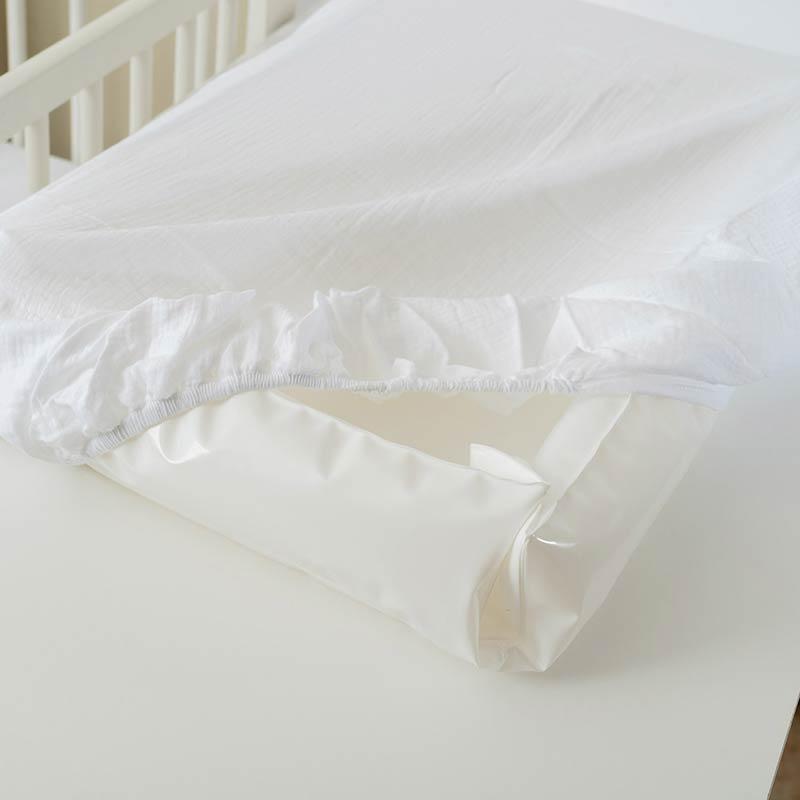 housse matelas a langer coton bio papate blanc enroule