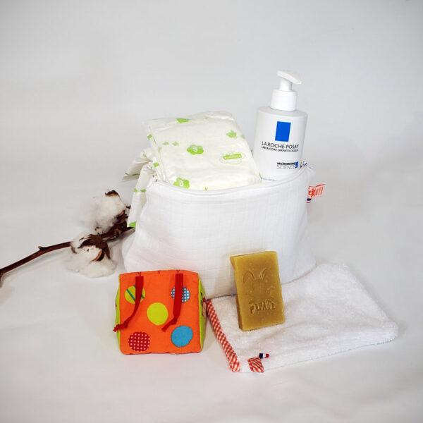 trousse de toilette bebe coton bio papate blanc