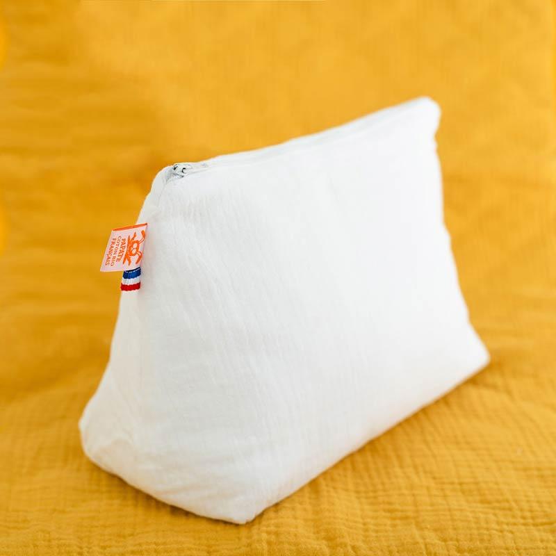trousse de toilette bebe coton bio papate blanc gots logo