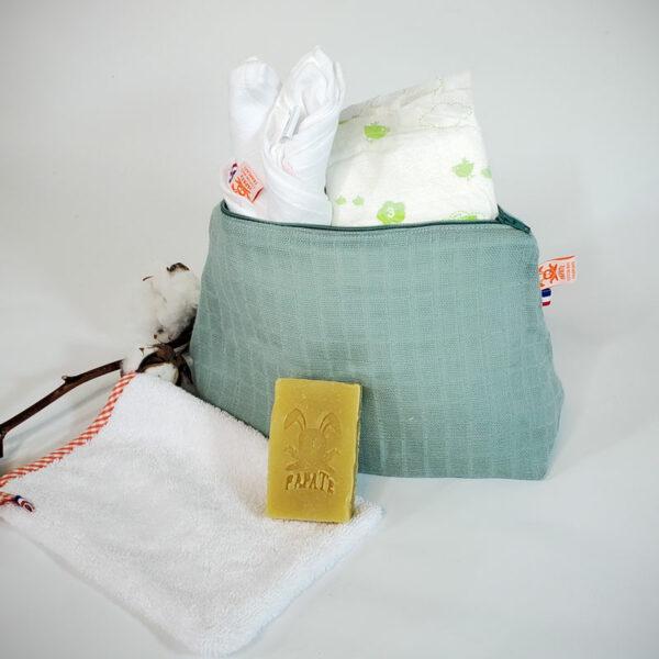 trousse de toilette bebe coton bio papate vert gants