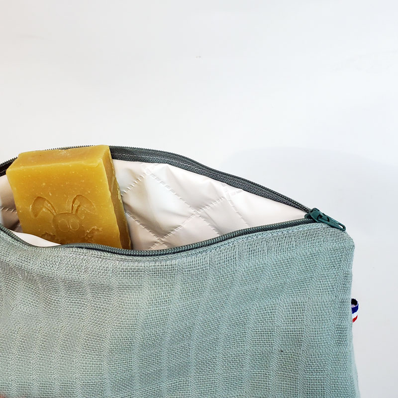 trousse de toilette bebe coton bio papate vert biologique