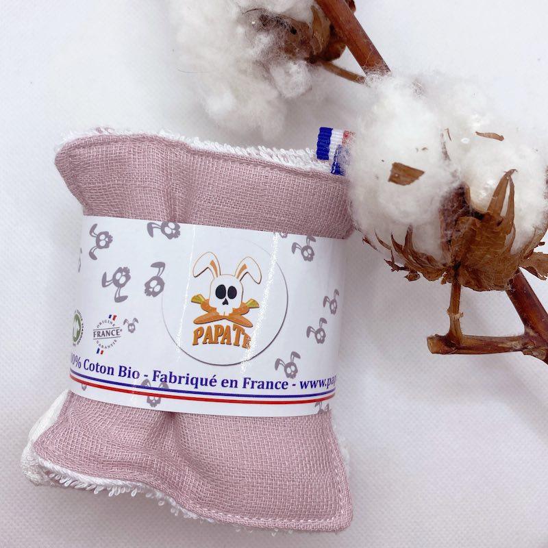 Lingette en coton bio rose papate