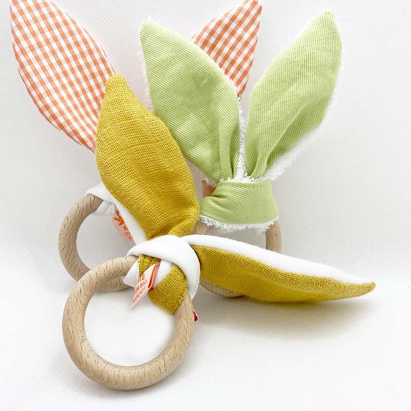 anneau de dentition en coton bio bebe automne honey puericulture