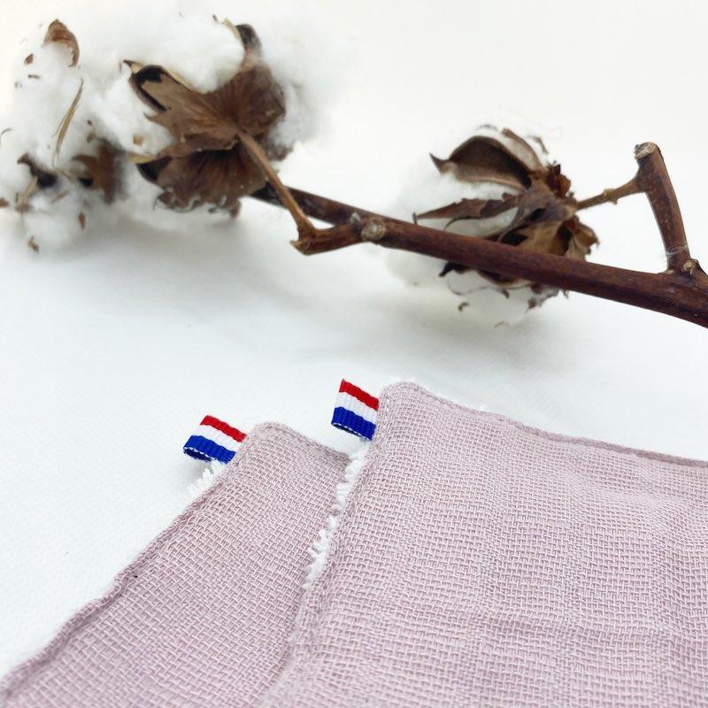 lingette en coton bio rose papate ruban rose